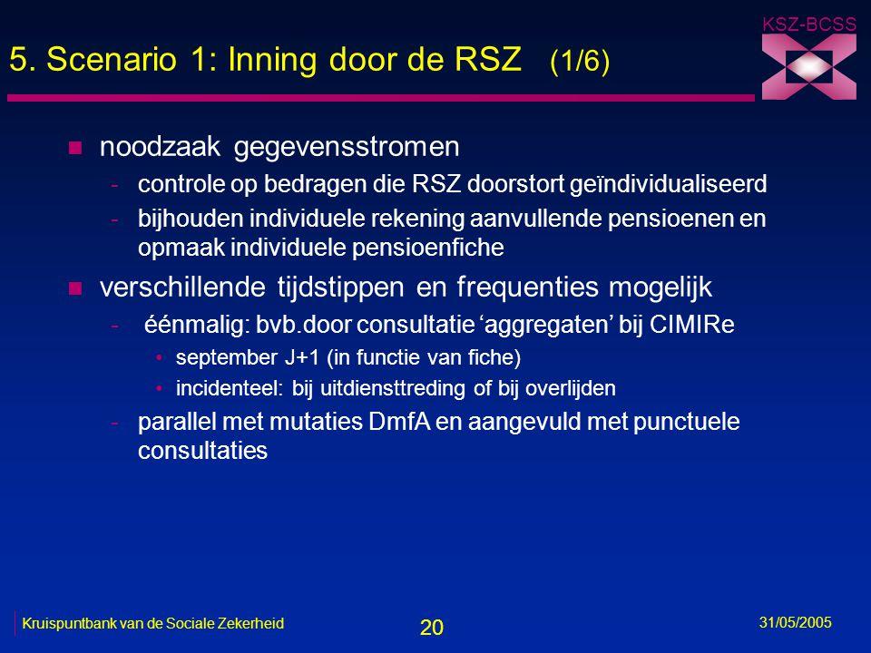 20 KSZ-BCSS 31/05/2005 Kruispuntbank van de Sociale Zekerheid 5. Scenario 1: Inning door de RSZ (1/6) n noodzaak gegevensstromen -controle op bedragen