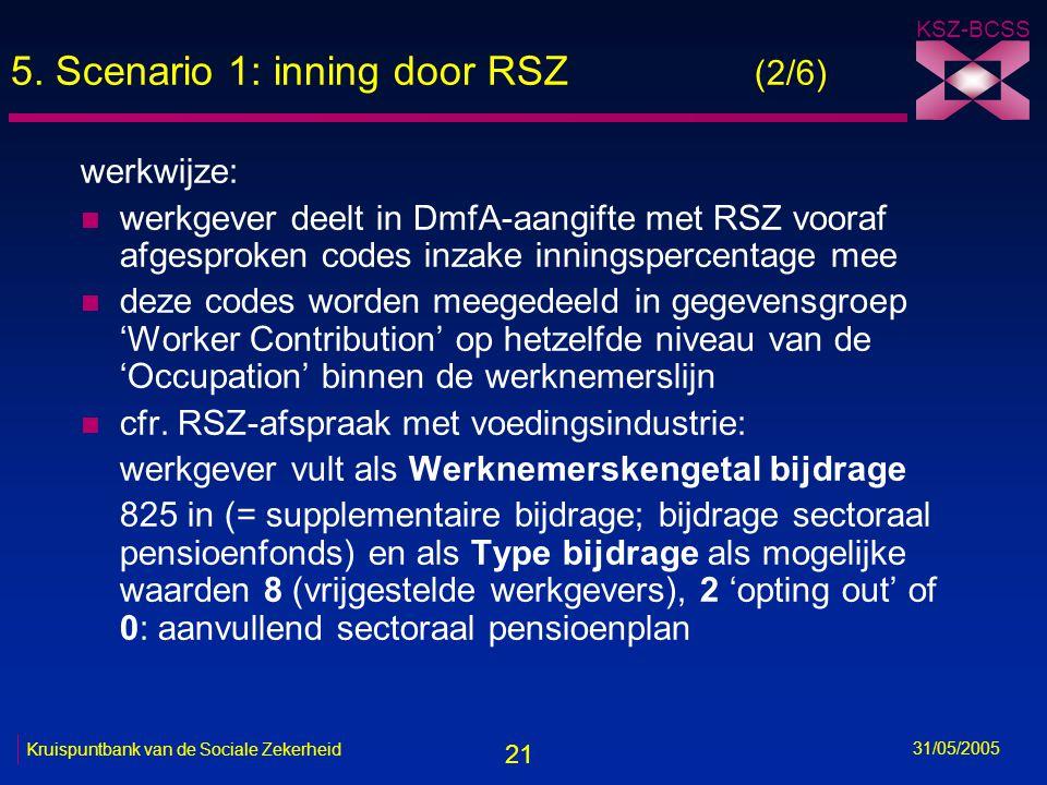21 KSZ-BCSS 31/05/2005 Kruispuntbank van de Sociale Zekerheid 5. Scenario 1: inning door RSZ (2/6) werkwijze: n werkgever deelt in DmfA-aangifte met R