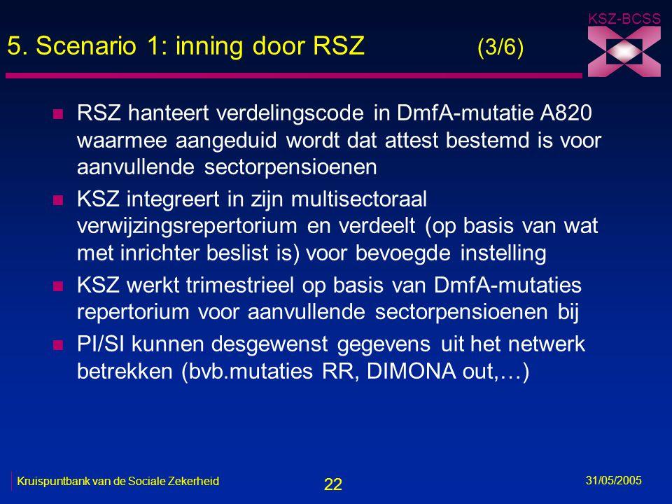 22 KSZ-BCSS 31/05/2005 Kruispuntbank van de Sociale Zekerheid 5. Scenario 1: inning door RSZ (3/6) n RSZ hanteert verdelingscode in DmfA-mutatie A820
