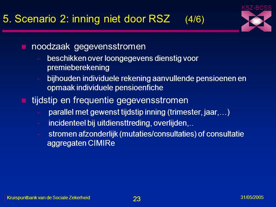 23 KSZ-BCSS 31/05/2005 Kruispuntbank van de Sociale Zekerheid 5. Scenario 2: inning niet door RSZ (4/6) n noodzaak gegevensstromen -beschikken over lo