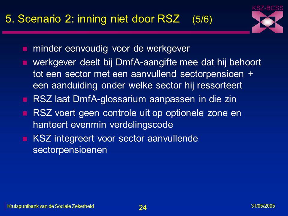 24 KSZ-BCSS 31/05/2005 Kruispuntbank van de Sociale Zekerheid 5. Scenario 2: inning niet door RSZ (5/6) n minder eenvoudig voor de werkgever n werkgev