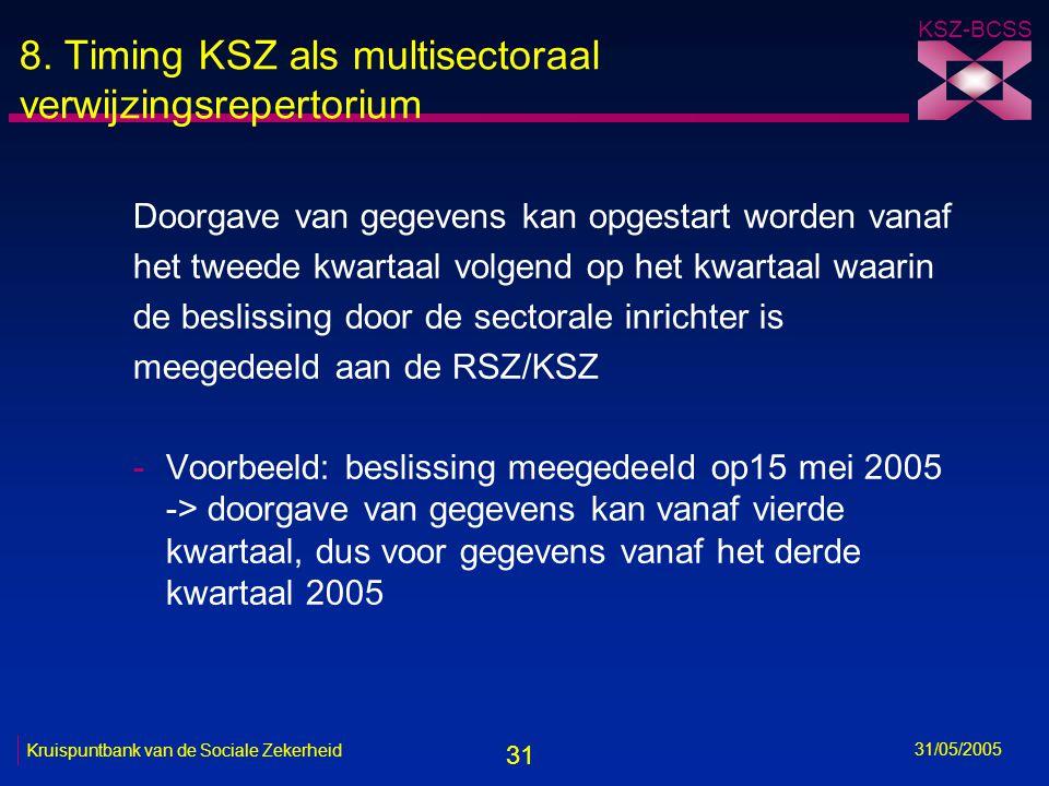 31 KSZ-BCSS 31/05/2005 Kruispuntbank van de Sociale Zekerheid 8. Timing KSZ als multisectoraal verwijzingsrepertorium Doorgave van gegevens kan opgest