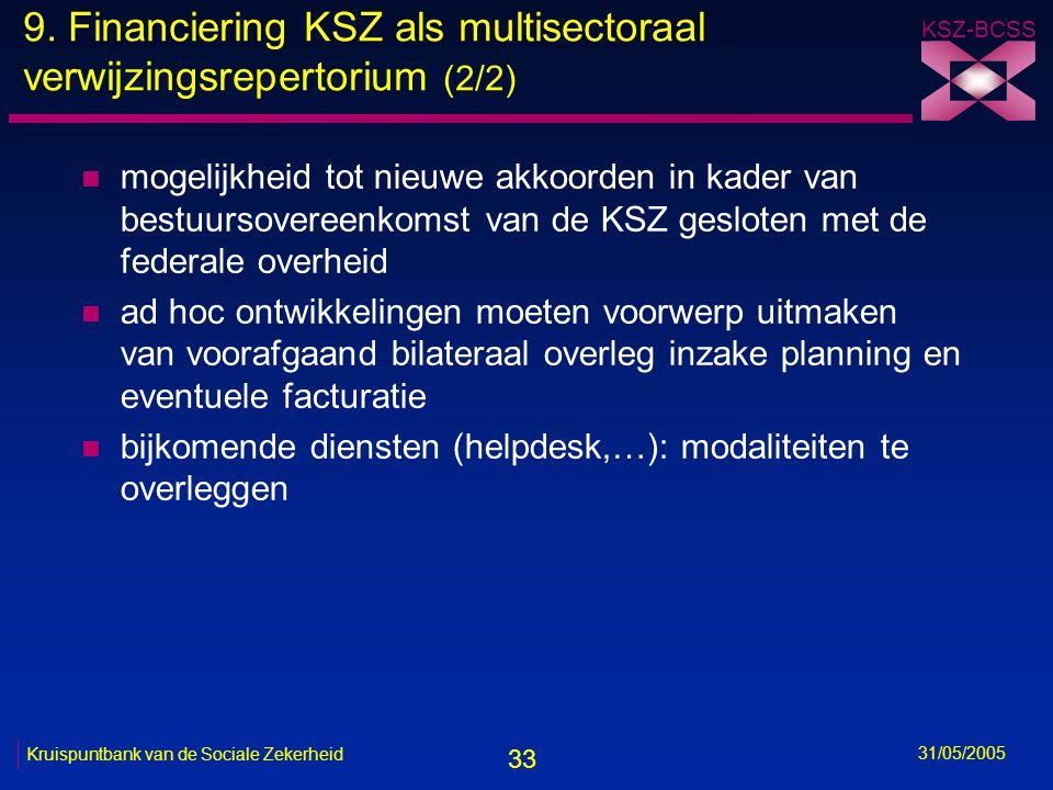 33 KSZ-BCSS 31/05/2005 Kruispuntbank van de Sociale Zekerheid 9. Financiering KSZ als multisectoraal verwijzingsrepertorium (2/2) n mogelijkheid tot n