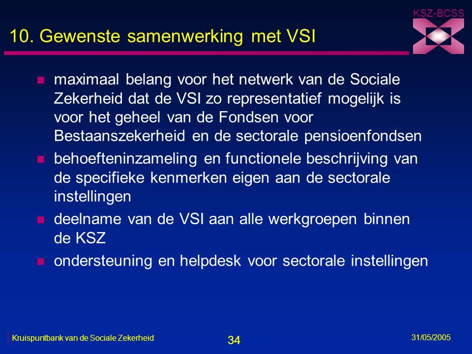 34 KSZ-BCSS 31/05/2005 Kruispuntbank van de Sociale Zekerheid 10. Gewenste samenwerking met VSI n maximaal belang voor het netwerk van de Sociale Zeke