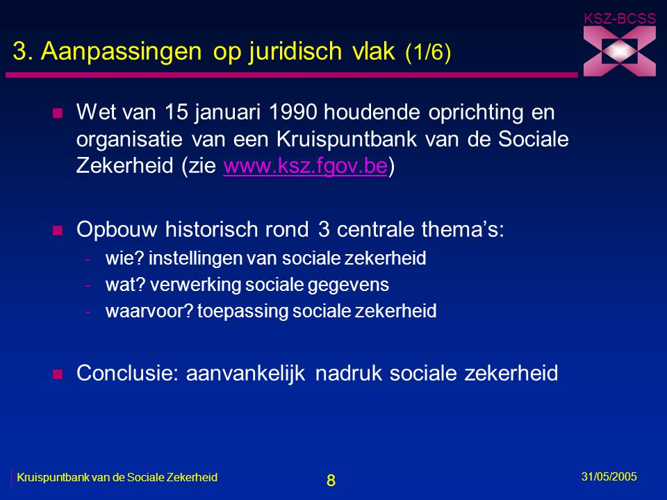 8 KSZ-BCSS 31/05/2005 Kruispuntbank van de Sociale Zekerheid 3. Aanpassingen op juridisch vlak (1/6) n Wet van 15 januari 1990 houdende oprichting en