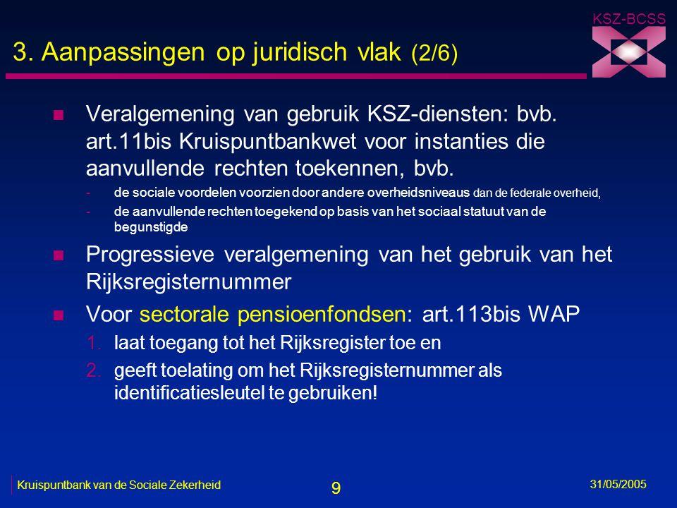 9 KSZ-BCSS 31/05/2005 Kruispuntbank van de Sociale Zekerheid 3. Aanpassingen op juridisch vlak (2/6) n Veralgemening van gebruik KSZ-diensten: bvb. ar