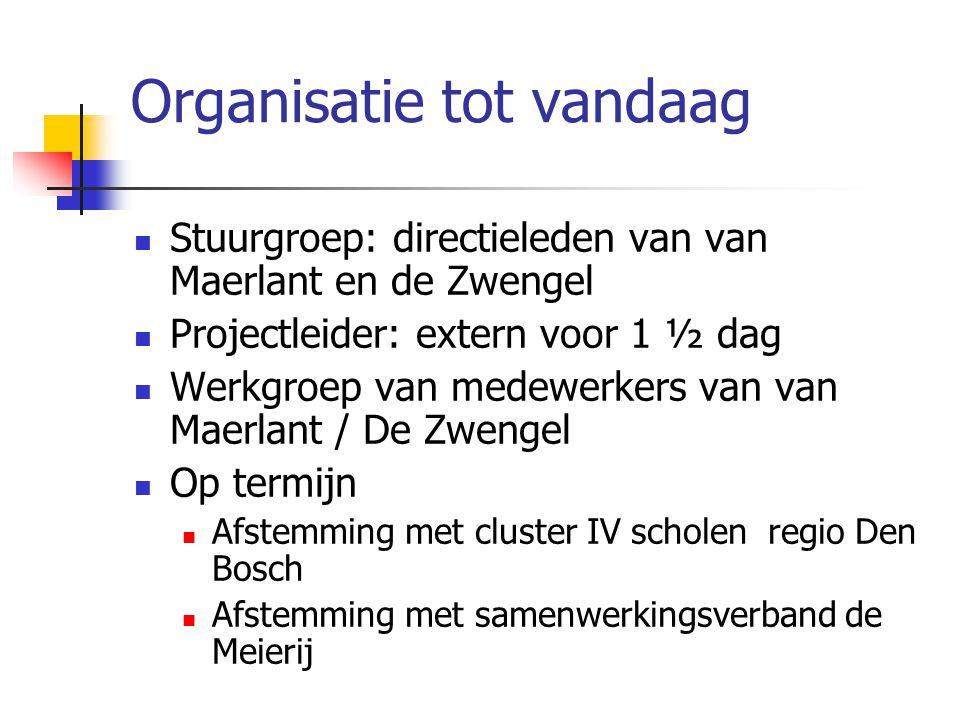 Organisatie tot vandaag  Stuurgroep: directieleden van van Maerlant en de Zwengel  Projectleider: extern voor 1 ½ dag  Werkgroep van medewerkers va