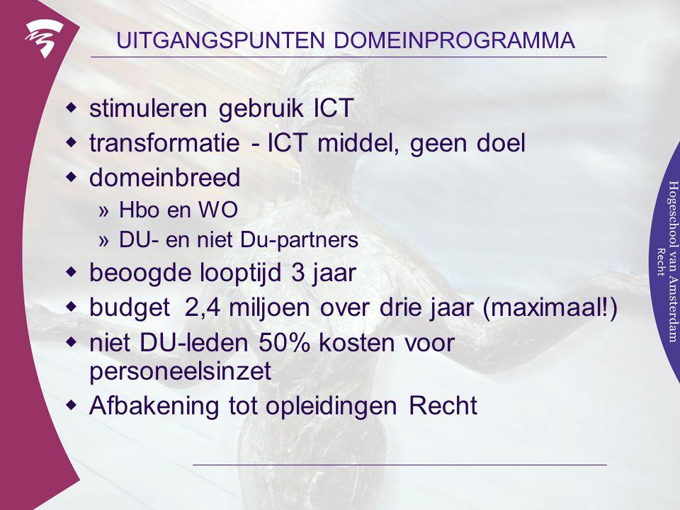 UITGANGSPUNTEN DOMEINPROGRAMMA  stimuleren gebruik ICT  transformatie - ICT middel, geen doel  domeinbreed »Hbo en WO »DU- en niet Du-partners  be