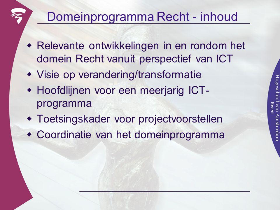 Domeinprogramma Recht - inhoud  Relevante ontwikkelingen in en rondom het domein Recht vanuit perspectief van ICT  Visie op verandering/transformati
