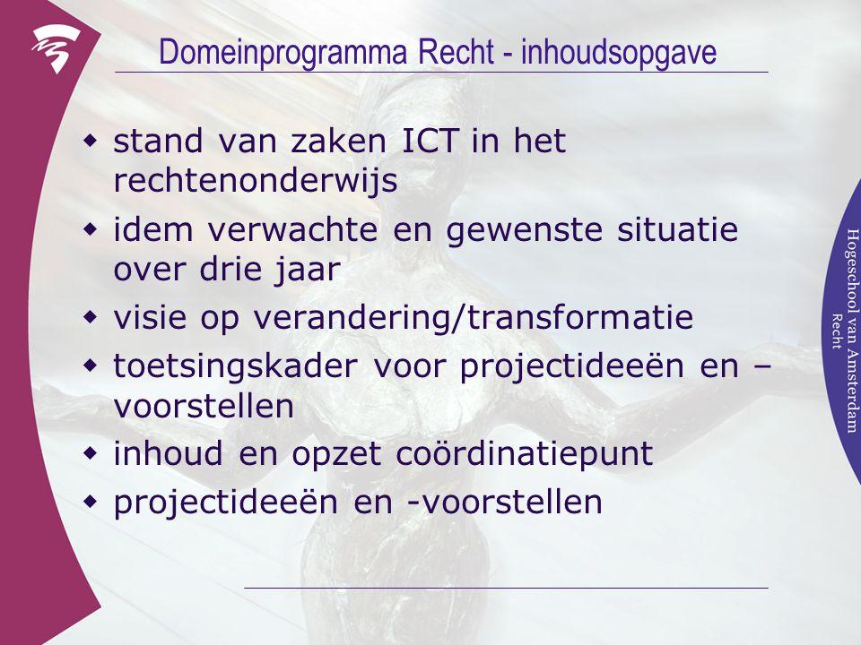 Domeinprogramma Recht - inhoudsopgave  stand van zaken ICT in het rechtenonderwijs  idem verwachte en gewenste situatie over drie jaar  visie op ve