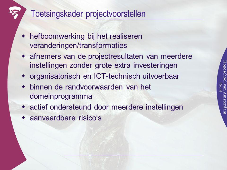Toetsingskader projectvoorstellen  hefboomwerking bij het realiseren veranderingen/transformaties  afnemers van de projectresultaten van meerdere in