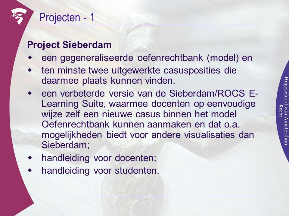 Projecten - 1 Project Sieberdam  een gegeneraliseerde oefenrechtbank (model) en  ten minste twee uitgewerkte casusposities die daarmee plaats kunnen