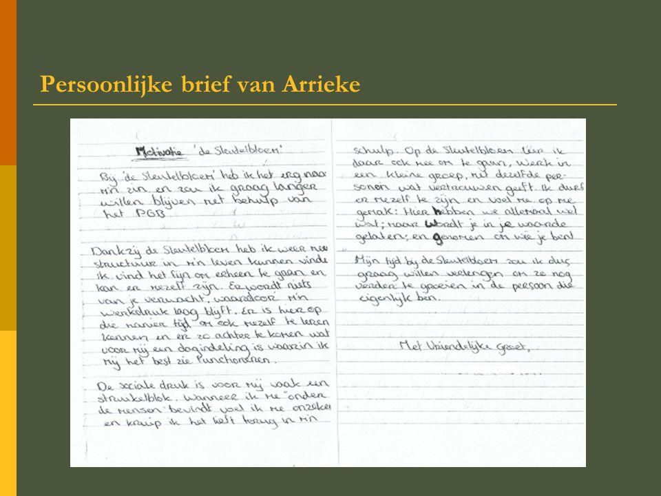 Persoonlijke brief van Arrieke