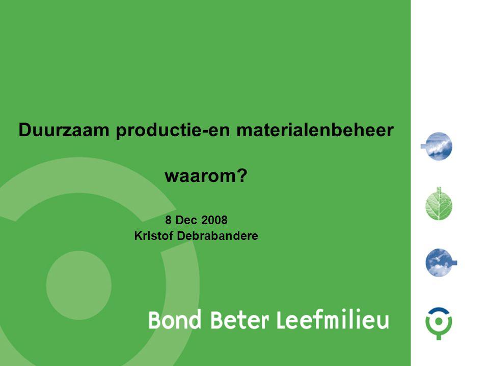 Duurzaam productie-en materialenbeheer waarom? 8 Dec 2008 Kristof Debrabandere
