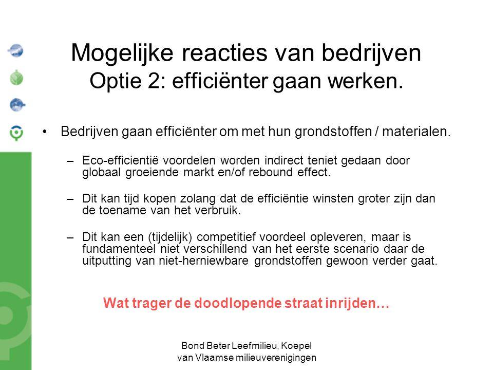 Bond Beter Leefmilieu, Koepel van Vlaamse milieuverenigingen Mogelijke reacties van bedrijven Optie 2: efficiënter gaan werken. •Bedrijven gaan effici
