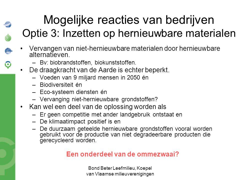 Bond Beter Leefmilieu, Koepel van Vlaamse milieuverenigingen Mogelijke reacties van bedrijven Optie 3: Inzetten op hernieuwbare materialen •Vervangen van niet-hernieuwbare materialen door hernieuwbare alternatieven.