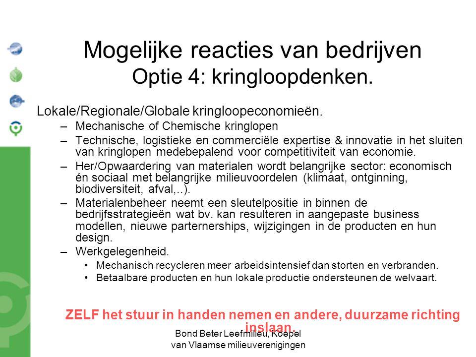 Bond Beter Leefmilieu, Koepel van Vlaamse milieuverenigingen Mogelijke reacties van bedrijven Optie 4: kringloopdenken. Lokale/Regionale/Globale kring