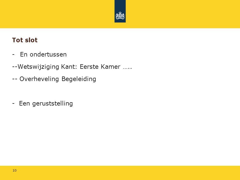 10 Tot slot -En ondertussen --Wetswijziging Kant: Eerste Kamer …..