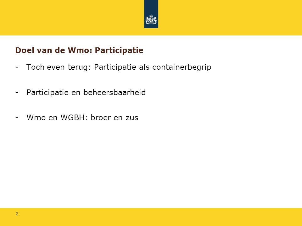 2 Doel van de Wmo: Participatie -Toch even terug: Participatie als containerbegrip -Participatie en beheersbaarheid -Wmo en WGBH: broer en zus