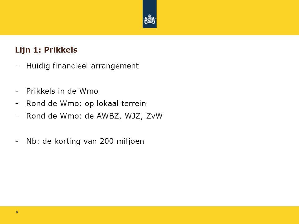 4 Lijn 1: Prikkels -Huidig financieel arrangement -Prikkels in de Wmo -Rond de Wmo: op lokaal terrein -Rond de Wmo: de AWBZ, WJZ, ZvW -Nb: de korting van 200 miljoen
