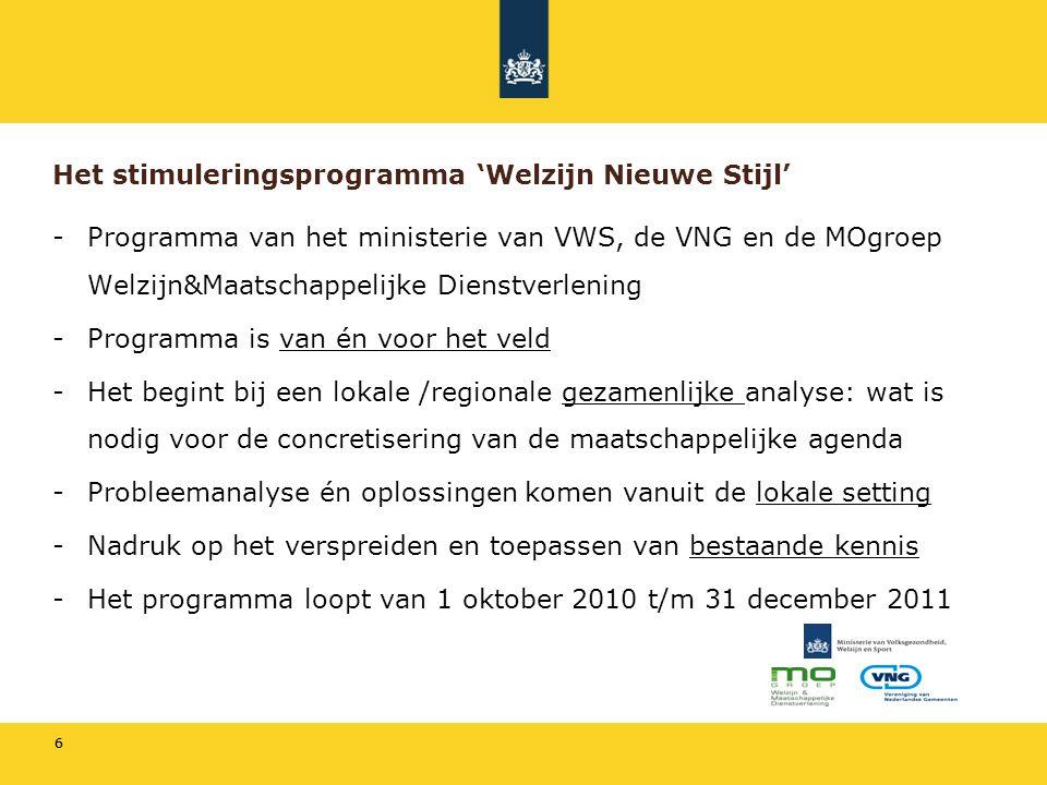 66 Het stimuleringsprogramma 'Welzijn Nieuwe Stijl' -Programma van het ministerie van VWS, de VNG en de MOgroep Welzijn&Maatschappelijke Dienstverlening -Programma is van én voor het veld -Het begint bij een lokale /regionale gezamenlijke analyse: wat is nodig voor de concretisering van de maatschappelijke agenda -Probleemanalyse én oplossingen komen vanuit de lokale setting -Nadruk op het verspreiden en toepassen van bestaande kennis -Het programma loopt van 1 oktober 2010 t/m 31 december 2011
