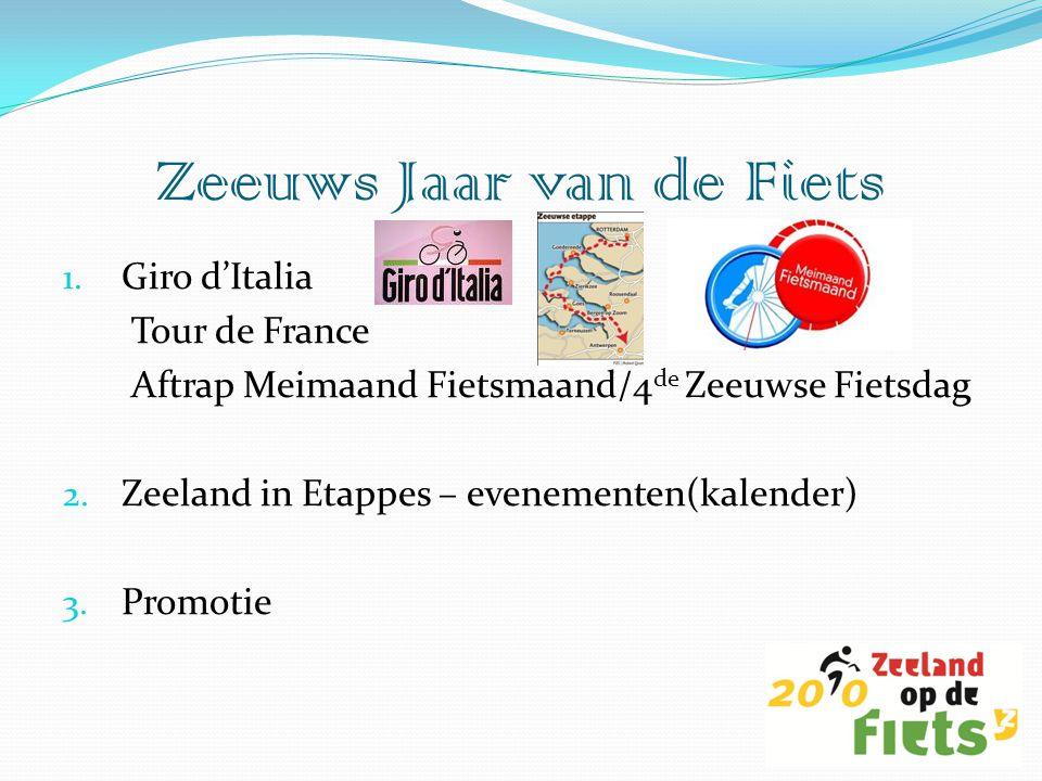 1. Giro d'Italia Tour de France Aftrap Meimaand Fietsmaand/4 de Zeeuwse Fietsdag 2. Zeeland in Etappes – evenementen(kalender) 3. Promotie