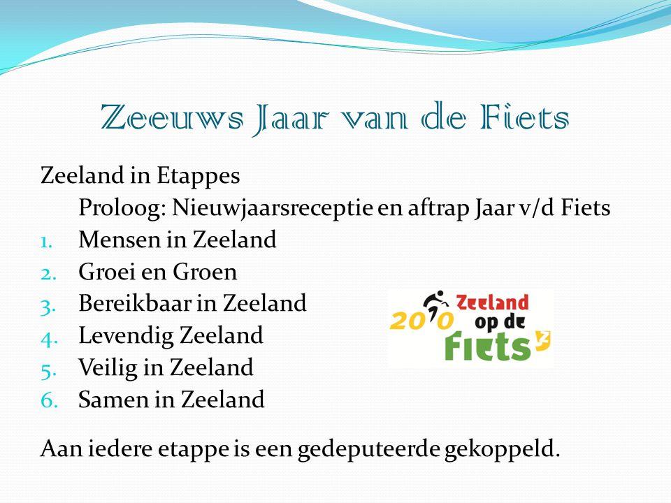 Zeeland in Etappes Proloog: Nieuwjaarsreceptie en aftrap Jaar v/d Fiets 1. Mensen in Zeeland 2. Groei en Groen 3. Bereikbaar in Zeeland 4. Levendig Ze