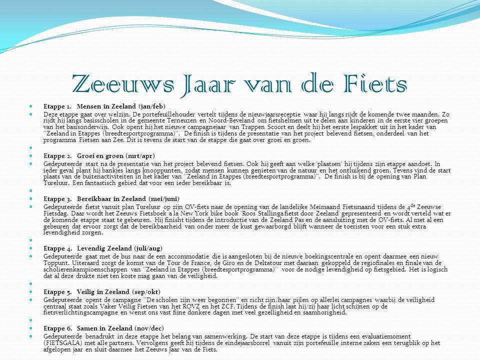 Etappe 1. Mensen in Zeeland (jan/feb)  Deze etappe gaat over welzijn. De portefeuillehouder vertelt tijdens de nieuwjaarsreceptie waar hij langs ri