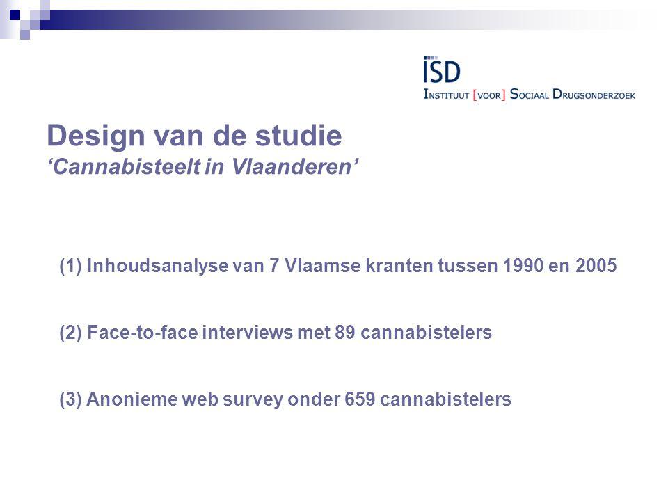 Design van de studie 'Cannabisteelt in Vlaanderen' (1) Inhoudsanalyse van 7 Vlaamse kranten tussen 1990 en 2005 (2) Face-to-face interviews met 89 cannabistelers (3) Anonieme web survey onder 659 cannabistelers