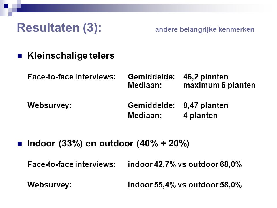 Resultaten (3): andere belangrijke kenmerken  Kleinschalige telers Face-to-face interviews: Gemiddelde: 46,2 planten Mediaan: maximum 6 planten Websurvey: Gemiddelde: 8,47 planten Mediaan: 4 planten  Indoor (33%) en outdoor (40% + 20%) Face-to-face interviews: indoor 42,7% vs outdoor 68,0% Websurvey: indoor 55,4% vs outdoor 58,0%