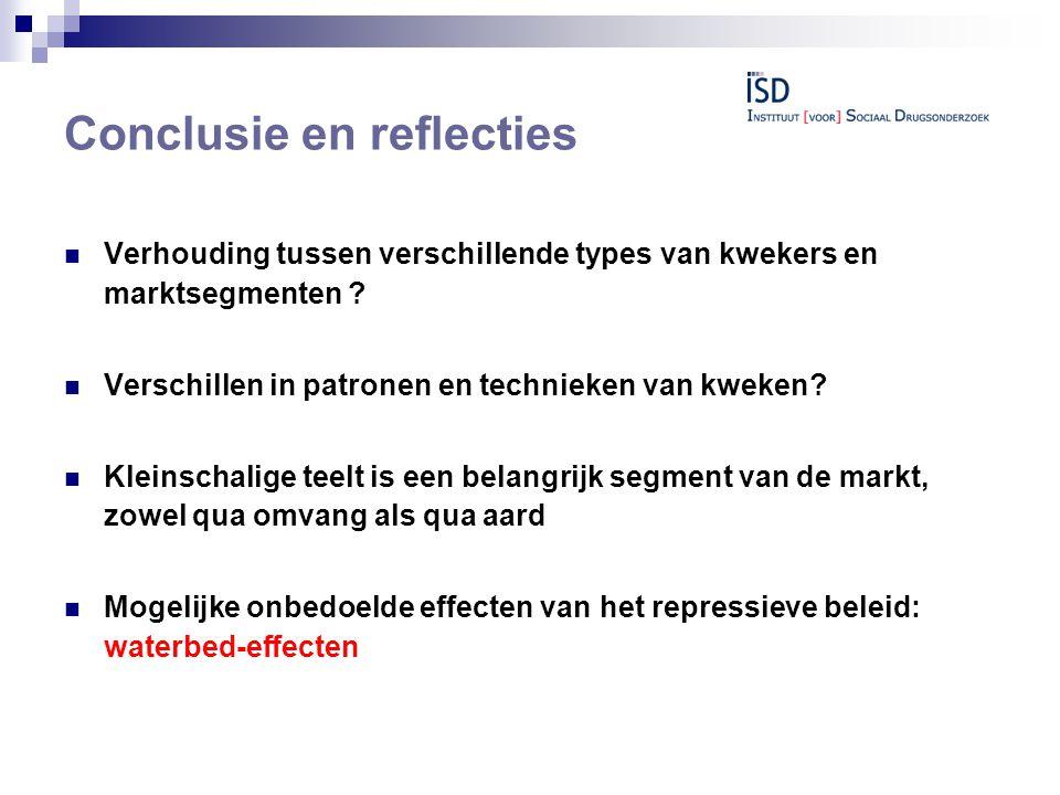 Conclusie en reflecties  Verhouding tussen verschillende types van kwekers en marktsegmenten .