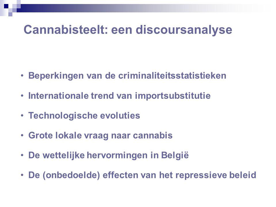 Cannabisteelt: een discoursanalyse •Beperkingen van de criminaliteitsstatistieken •Internationale trend van importsubstitutie •Technologische evoluties •Grote lokale vraag naar cannabis •De wettelijke hervormingen in België •De (onbedoelde) effecten van het repressieve beleid