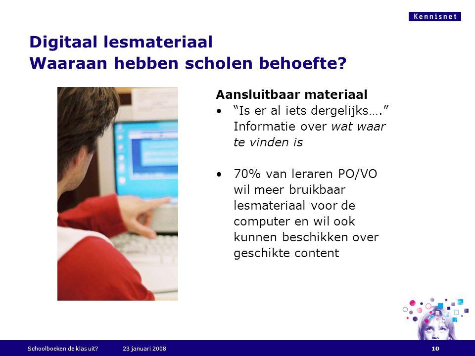 """Digitaal lesmateriaal Waaraan hebben scholen behoefte? Aansluitbaar materiaal •""""Is er al iets dergelijks…."""" Informatie over wat waar te vinden is •70%"""