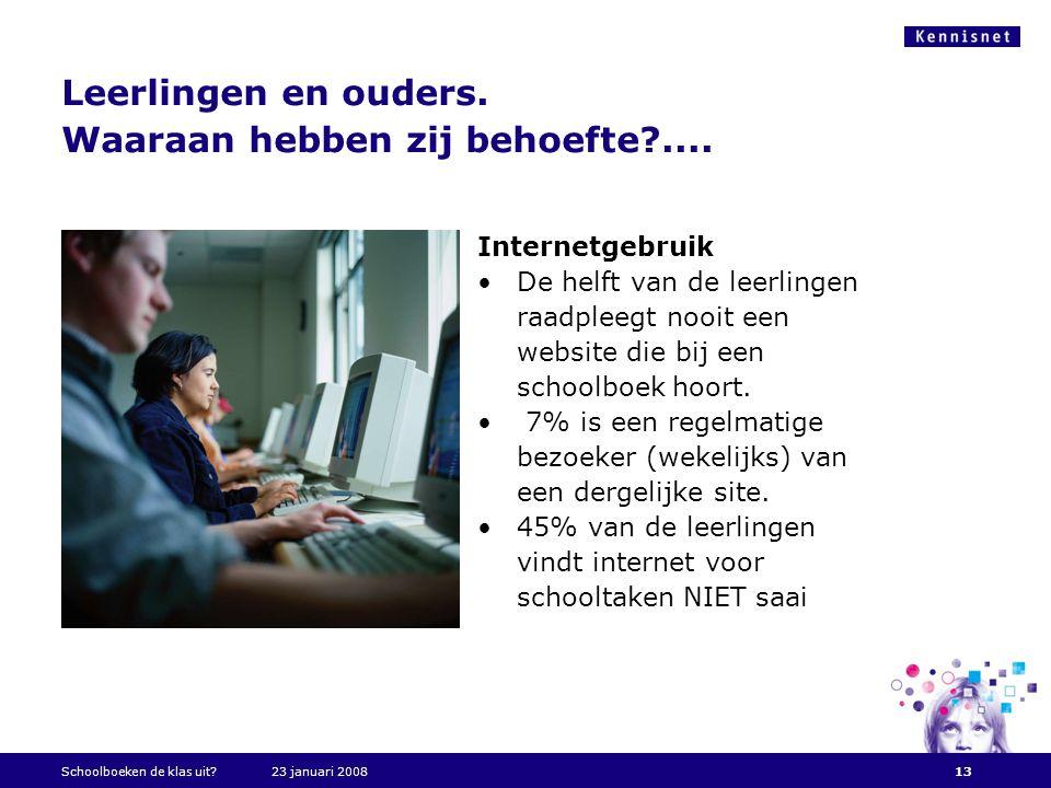 Leerlingen en ouders. Waaraan hebben zij behoefte?.... Internetgebruik •De helft van de leerlingen raadpleegt nooit een website die bij een schoolboek