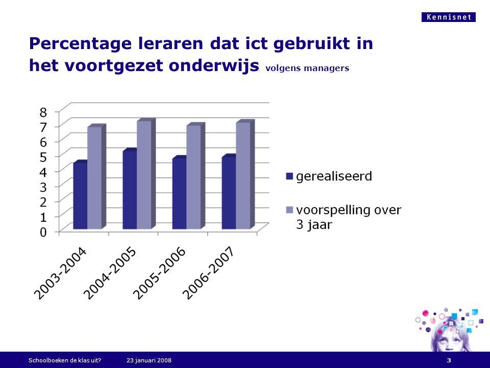 Percentage leraren dat ict gebruikt in het voortgezet onderwijs volgens managers Schoolboeken de klas uit?23 januari 20083
