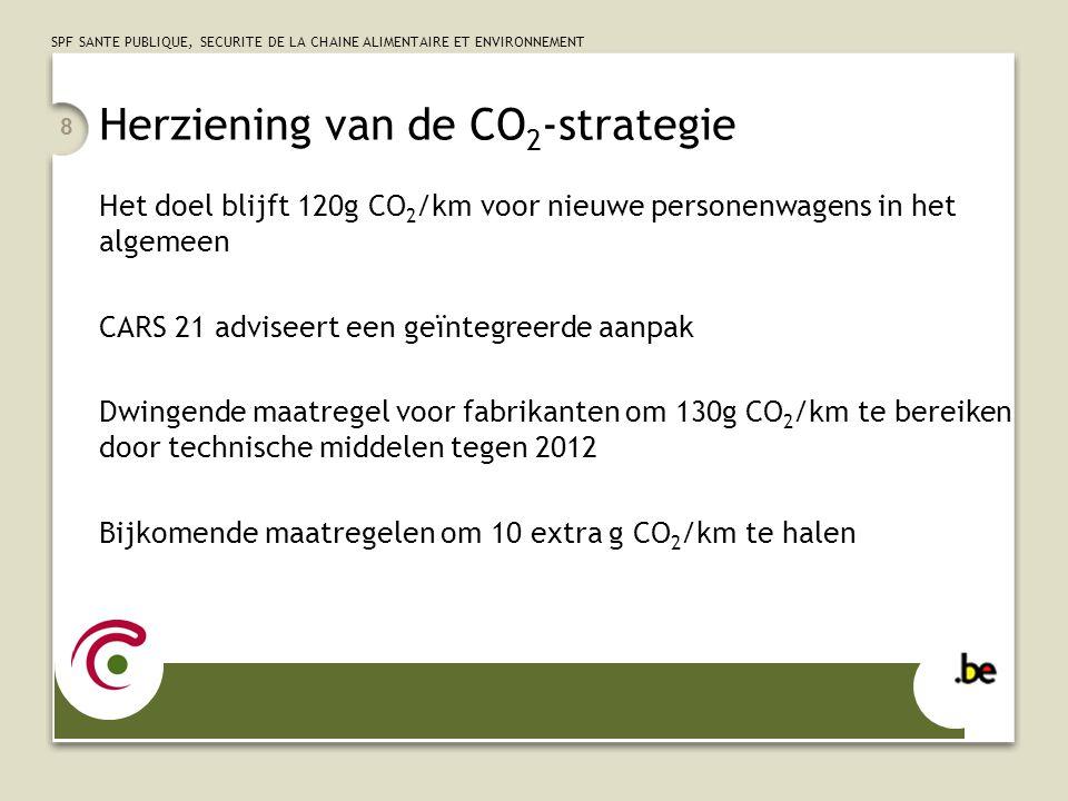 SPF SANTE PUBLIQUE, SECURITE DE LA CHAINE ALIMENTAIRE ET ENVIRONNEMENT 8 Herziening van de CO 2 -strategie Het doel blijft 120g CO 2 /km voor nieuwe p