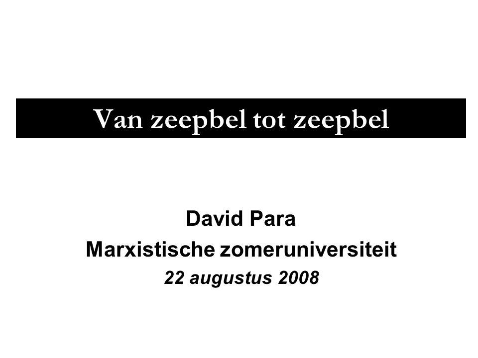 Van zeepbel tot zeepbel David Para Marxistische zomeruniversiteit 22 augustus 2008