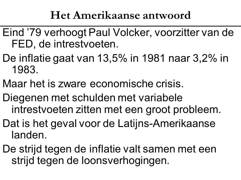 Het Amerikaanse antwoord Eind '79 verhoogt Paul Volcker, voorzitter van de FED, de intrestvoeten. De inflatie gaat van 13,5% in 1981 naar 3,2% in 1983
