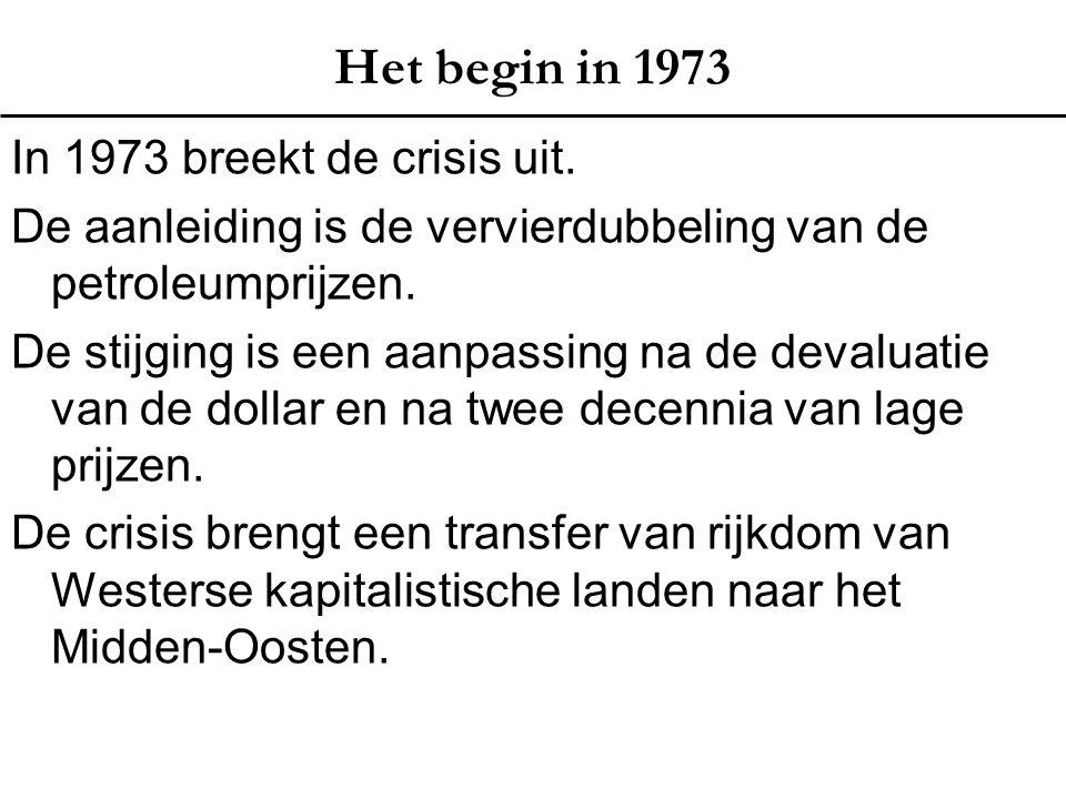 Het begin in 1973 In 1973 breekt de crisis uit. De aanleiding is de vervierdubbeling van de petroleumprijzen. De stijging is een aanpassing na de deva