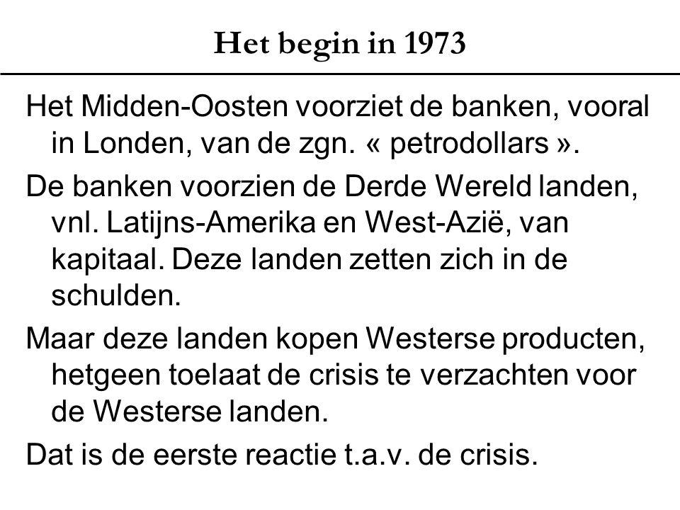 Het begin in 1973 Het Midden-Oosten voorziet de banken, vooral in Londen, van de zgn. « petrodollars ». De banken voorzien de Derde Wereld landen, vnl