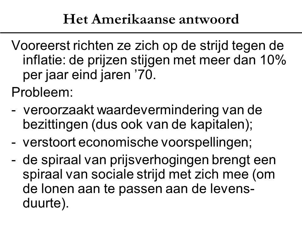 Het Amerikaanse antwoord Vooreerst richten ze zich op de strijd tegen de inflatie: de prijzen stijgen met meer dan 10% per jaar eind jaren '70. Proble