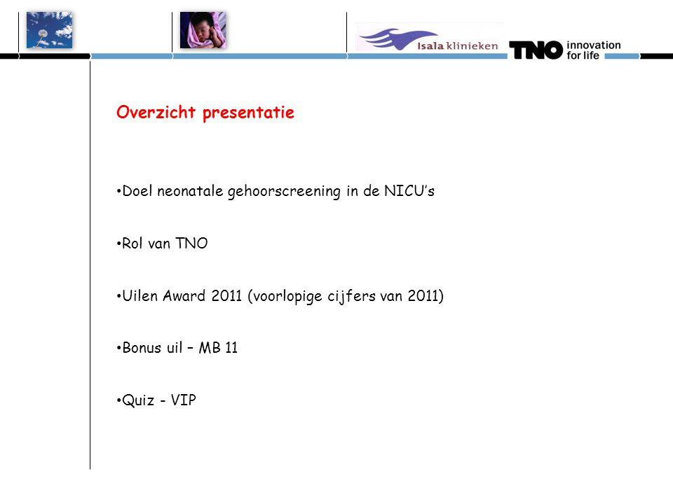 Overzicht presentatie • Doel neonatale gehoorscreening in de NICU's • Rol van TNO • Uilen Award 2011 (voorlopige cijfers van 2011) • Bonus uil – MB 11
