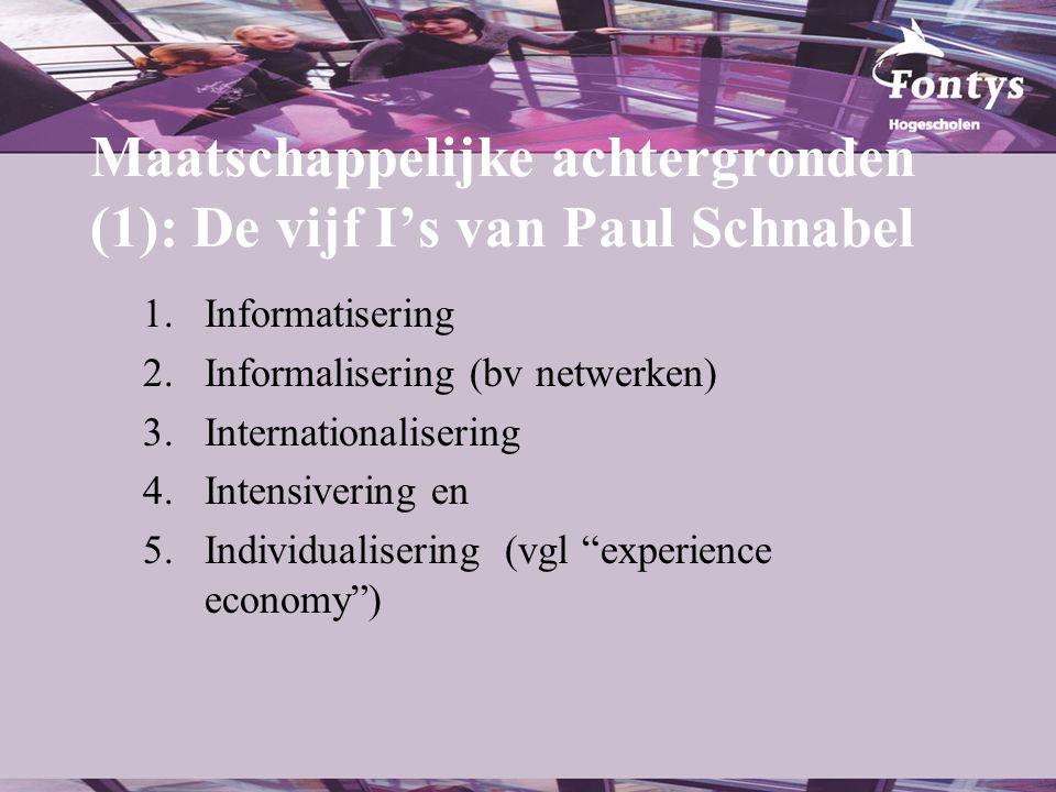 Maatschappelijke achtergronden (1): De vijf I's van Paul Schnabel 1.Informatisering 2.Informalisering (bv netwerken) 3.Internationalisering 4.Intensiv