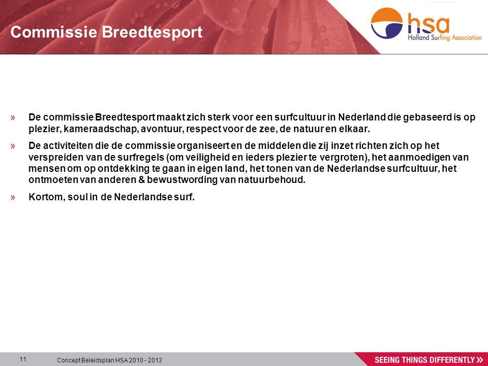 Concept Beleidsplan HSA 2010 - 2013 11 Commissie Breedtesport »De commissie Breedtesport maakt zich sterk voor een surfcultuur in Nederland die gebaseerd is op plezier, kameraadschap, avontuur, respect voor de zee, de natuur en elkaar.