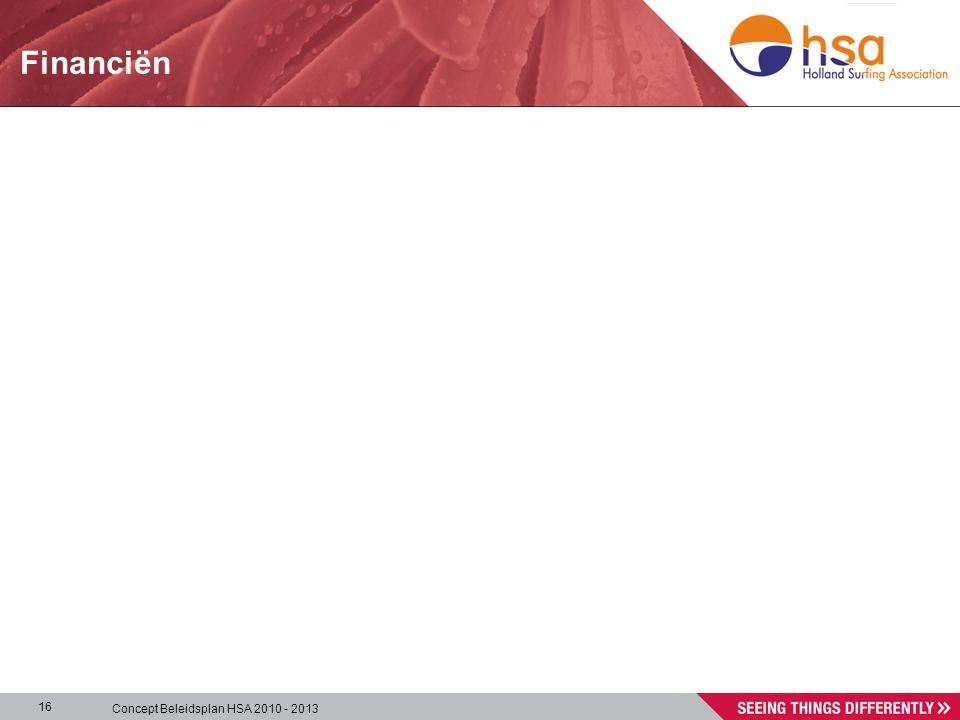 Concept Beleidsplan HSA 2010 - 2013 16 Financiën