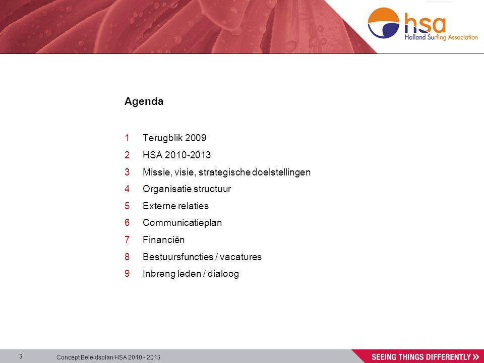 Concept Beleidsplan HSA 2010 - 2013 3 Agenda 1Terugblik 2009 2HSA 2010-2013 3Missie, visie, strategische doelstellingen 4Organisatie structuur 5Externe relaties 6Communicatieplan 7Financiën 8Bestuursfuncties / vacatures 9Inbreng leden / dialoog