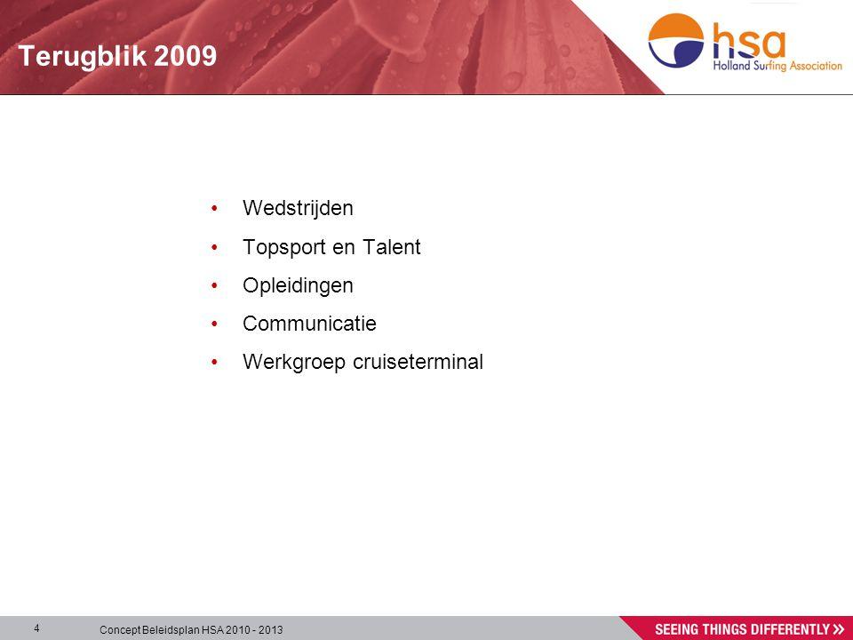 Concept Beleidsplan HSA 2010 - 2013 4 Terugblik 2009 •Wedstrijden •Topsport en Talent •Opleidingen •Communicatie •Werkgroep cruiseterminal