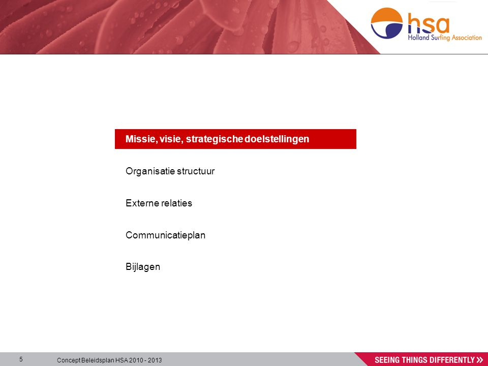 Concept Beleidsplan HSA 2010 - 2013 5 Missie, visie, strategische doelstellingen Organisatie structuur Externe relaties Communicatieplan Bijlagen