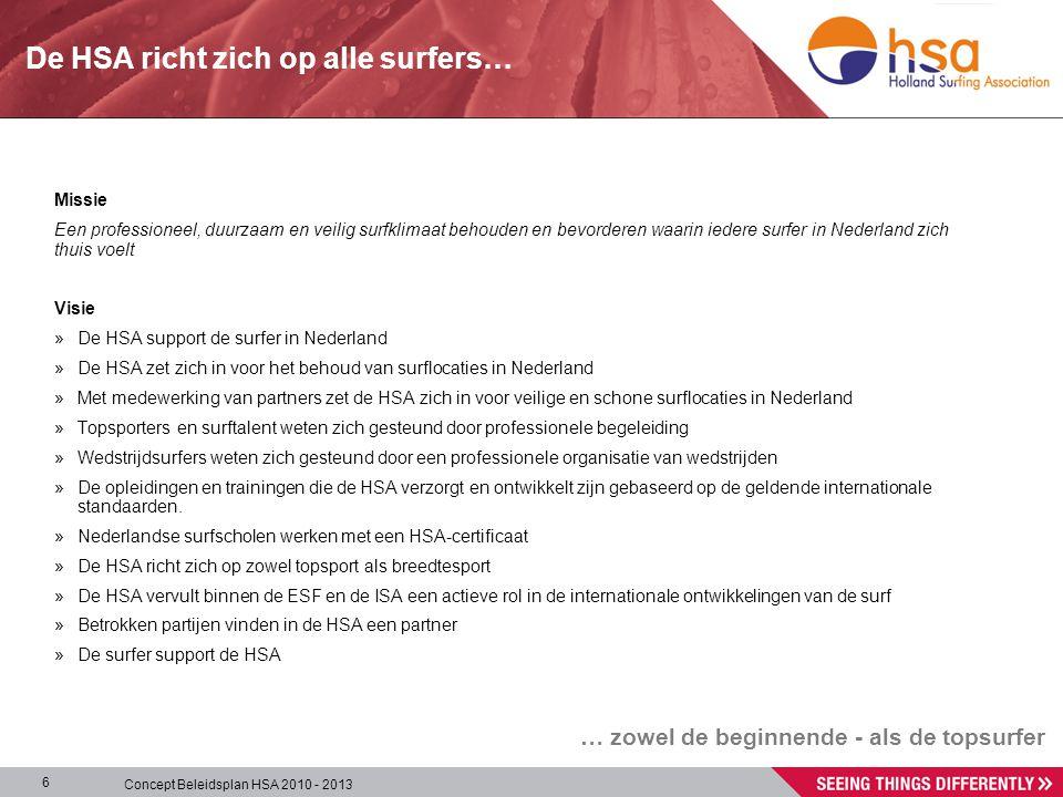 Concept Beleidsplan HSA 2010 - 2013 6 Missie Een professioneel, duurzaam en veilig surfklimaat behouden en bevorderen waarin iedere surfer in Nederland zich thuis voelt Visie » De HSA support de surfer in Nederland » De HSA zet zich in voor het behoud van surflocaties in Nederland » Met medewerking van partners zet de HSA zich in voor veilige en schone surflocaties in Nederland » Topsporters en surftalent weten zich gesteund door professionele begeleiding » Wedstrijdsurfers weten zich gesteund door een professionele organisatie van wedstrijden » De opleidingen en trainingen die de HSA verzorgt en ontwikkelt zijn gebaseerd op de geldende internationale standaarden.