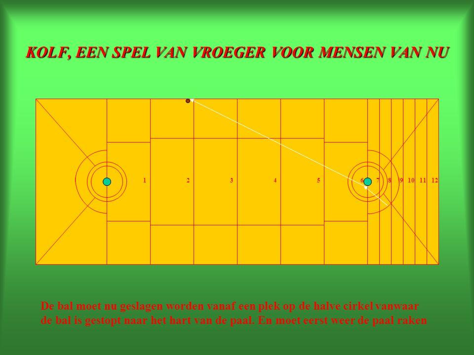 KOLF, EEN SPEL VAN VROEGER VOOR MENSEN VAN NU 234165789101112 De bal moet nu geslagen worden vanaf een plek op de halve cirkel vanwaar de bal is gestopt naar het hart van de paal.